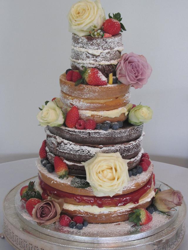 Naked Wedding cake - cake by Little monsters Bakery