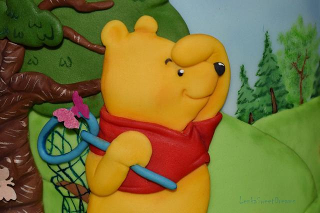 Winnie the Pooh and butterflies.