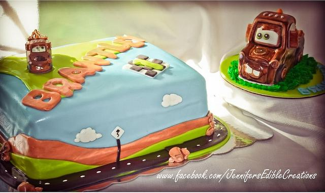 Amazing Mater Birthday Cake With 3 D Mater Baby Smash Cake Cake Cakesdecor Funny Birthday Cards Online Alyptdamsfinfo