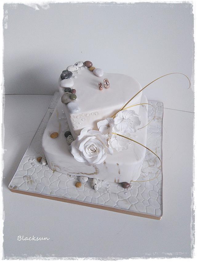 Wedding cake with edible stones