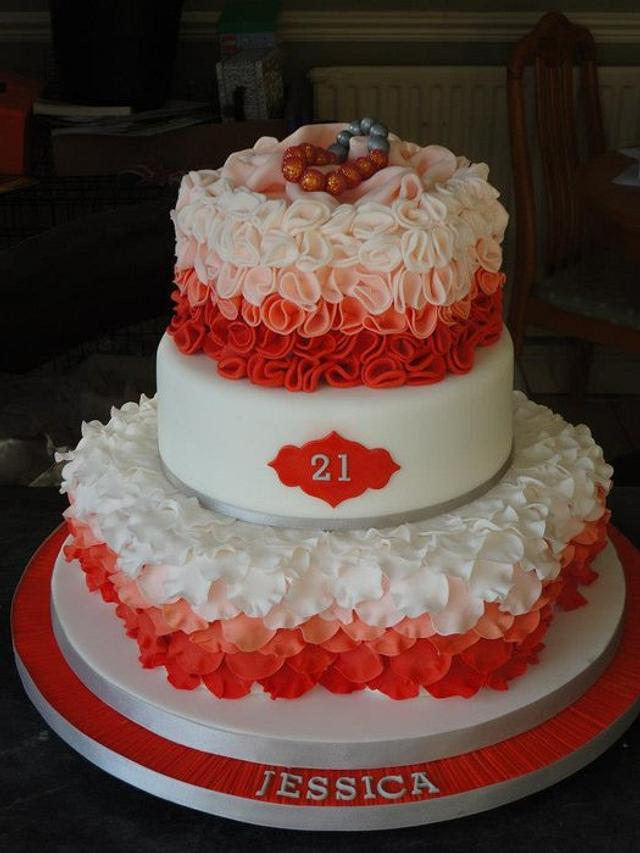 coral ruffle petal ombre birthday cake shamballa bracelet