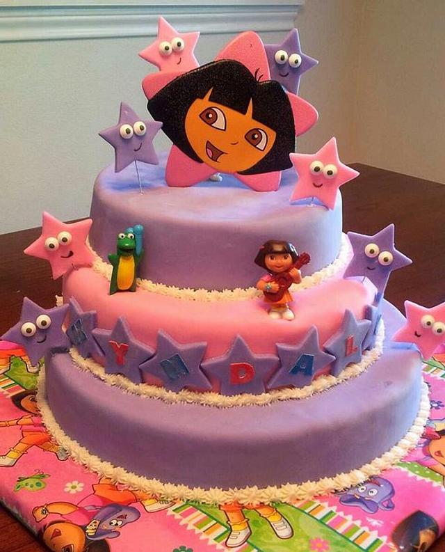 Astonishing Dora Birthday Cake Cake By Jacie Mattson Cakesdecor Personalised Birthday Cards Paralily Jamesorg
