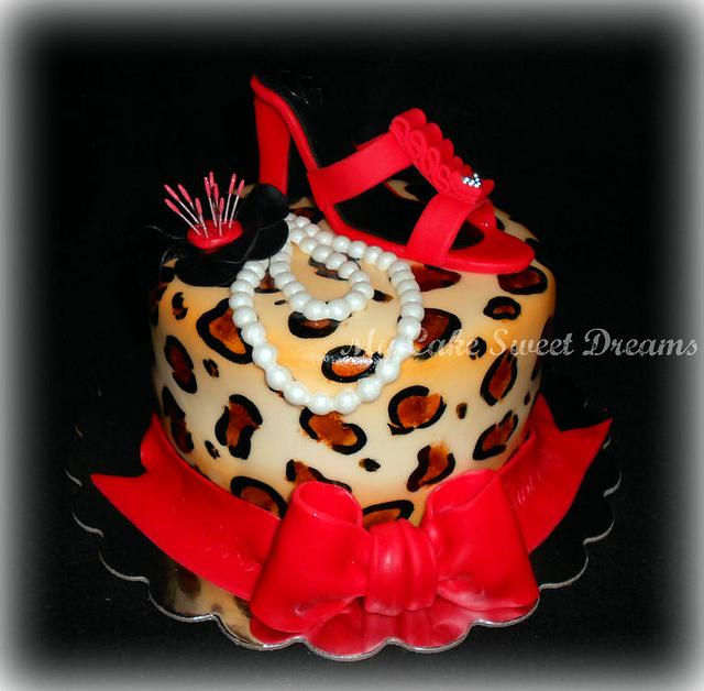 Leopard  Cake (with red shoe)