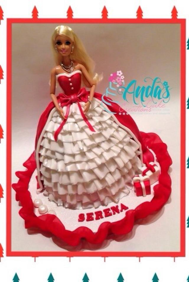 Christmas Barbie Princess Cake