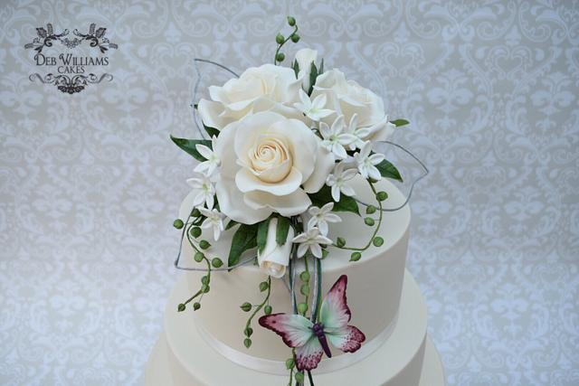 Rose bouquet wedding cake