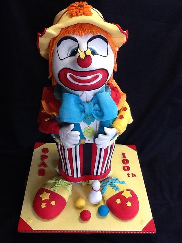 Cross eyed clown cake.