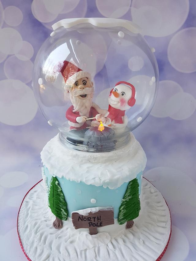 Santa and snowman globe cake