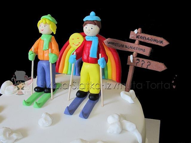 Ski wedding cake
