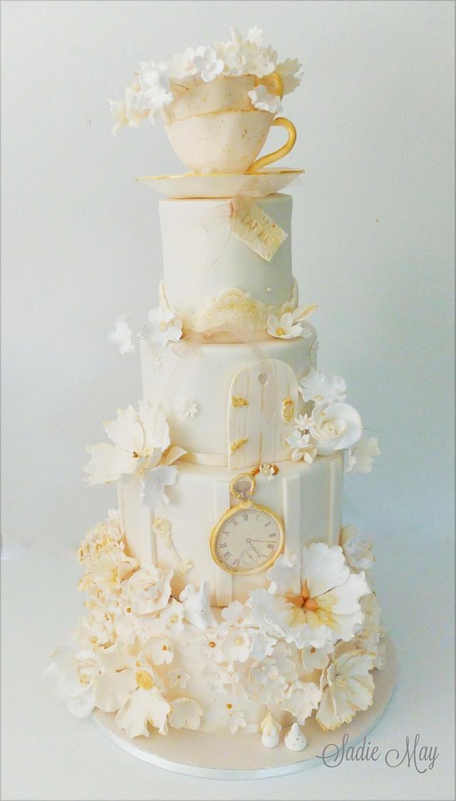 Ivory Alice inspired wedding cake