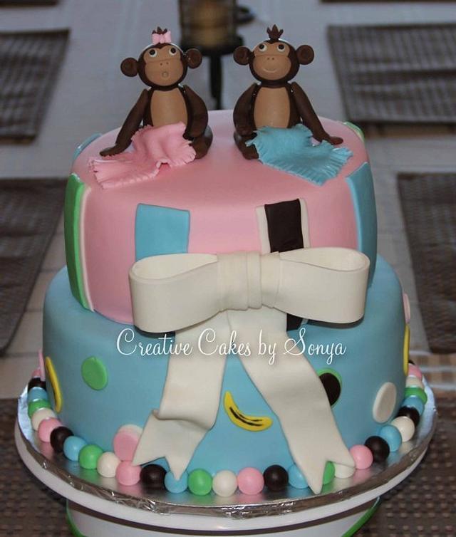 Monkey Twins Baby Shower Cake