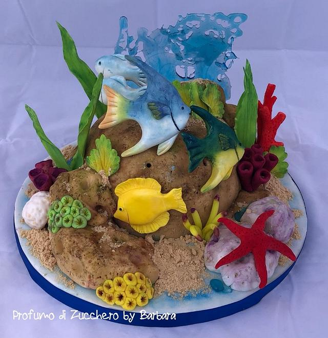 Peachy Aquarium Cake By Barbara Mazzotta Cakesdecor Funny Birthday Cards Online Necthendildamsfinfo