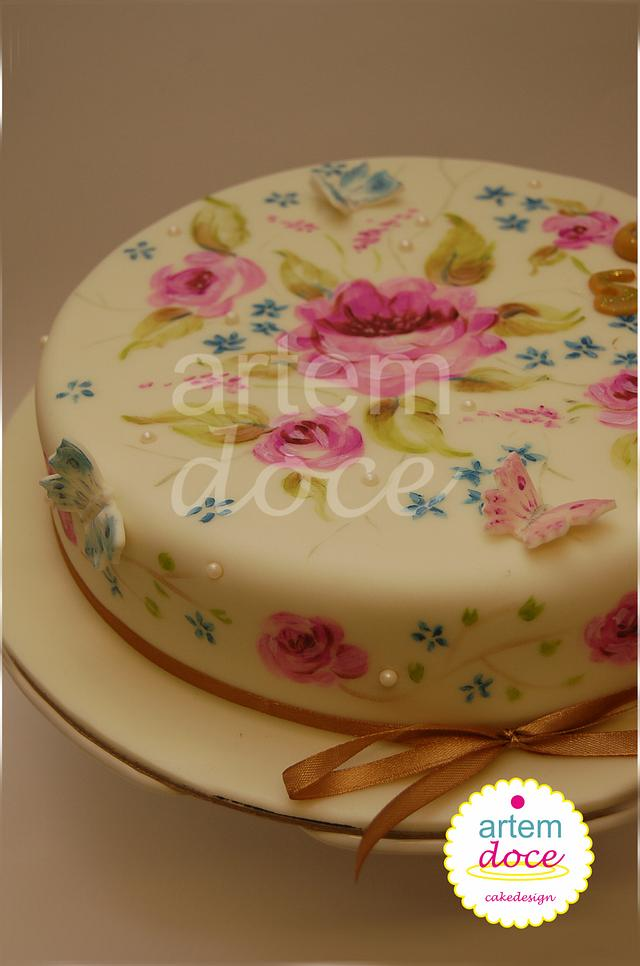 Painted cake - Flowers and butterfies