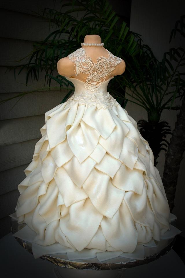 White Wedding Dress Cake ~ Brides dress cake