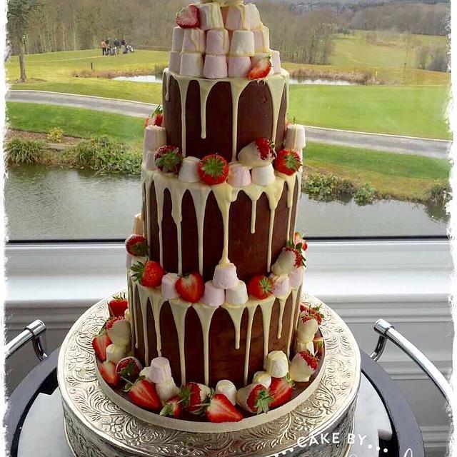 Chocolate Drippy Wedding Cake