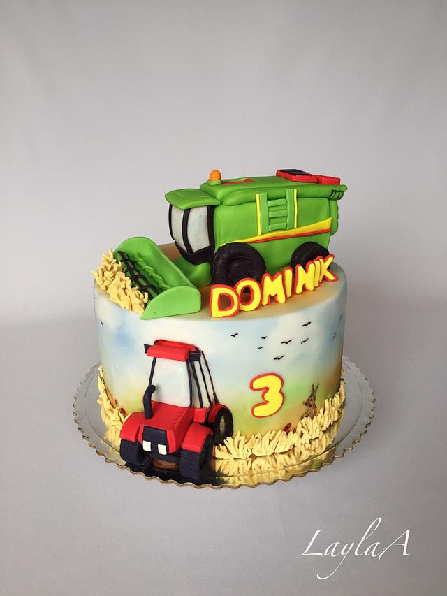 Superb Combine Harvester And Tractor Birthday Cake Cake By Cakesdecor Funny Birthday Cards Online Elaedamsfinfo