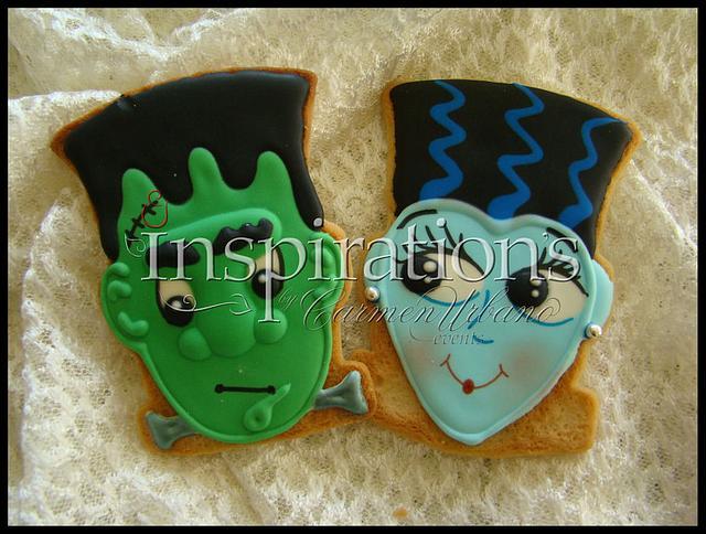 Inspiration's Spooky cookies Frankestein & Bride