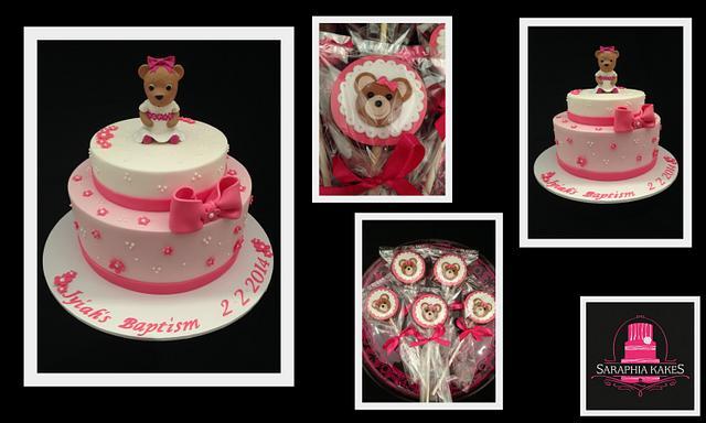Teddy Bear Christening Cake & Cookies