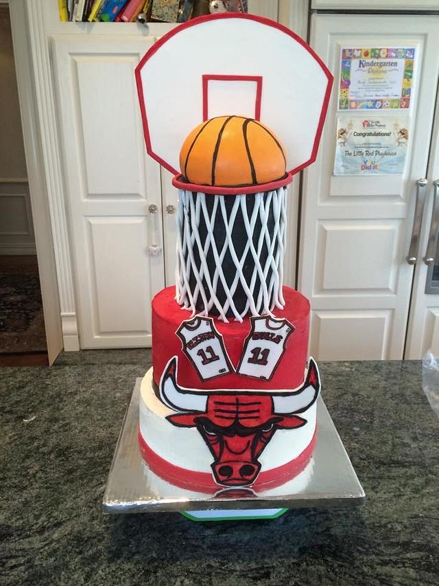 Sensational Chicago Bulls Basketball Backboard Birthday Cake Cakesdecor Birthday Cards Printable Giouspongecafe Filternl