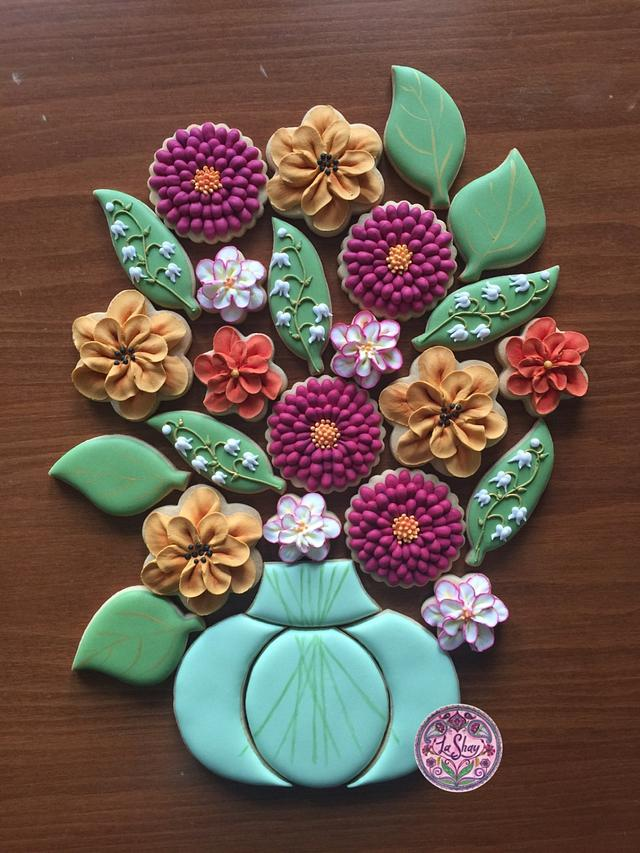 Flower Cookie Platter in Autumn Colours