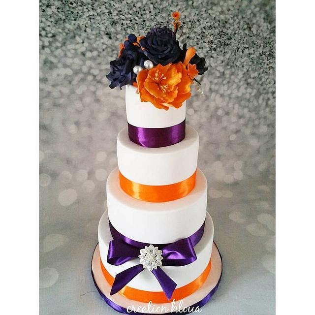 wedding cake bouquet orange et violet