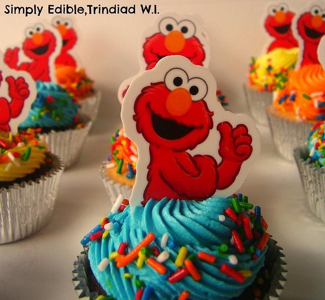 Elmo Theme Cake and Cupcakes