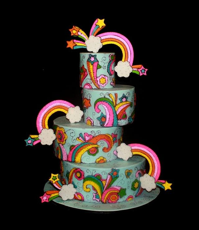 Painted Rainbow Cake
