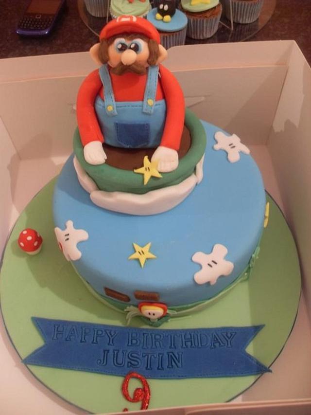 mario cake and cupcakes