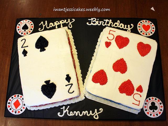 Poker themed birthday cake & treats