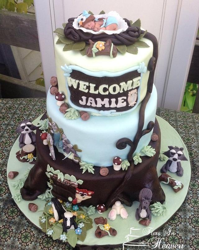 Woodland animal baby shower cake