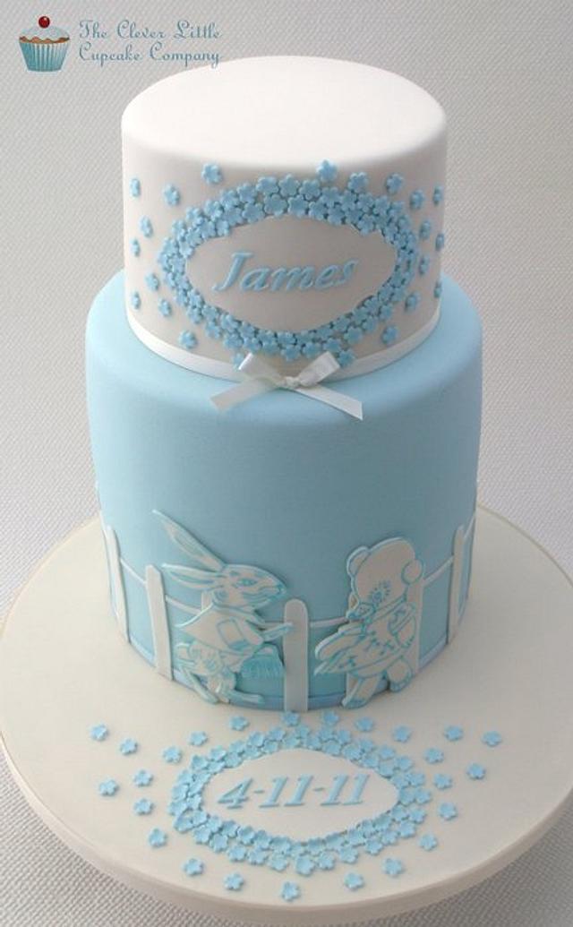 Bunny and Bear Christening Cake
