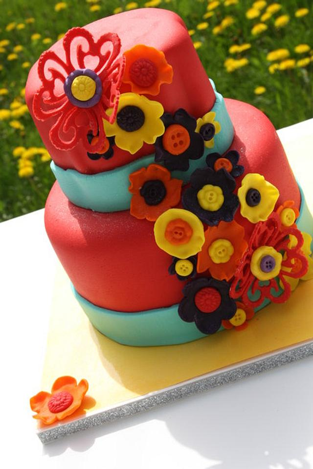 Funky Button Flower CAke