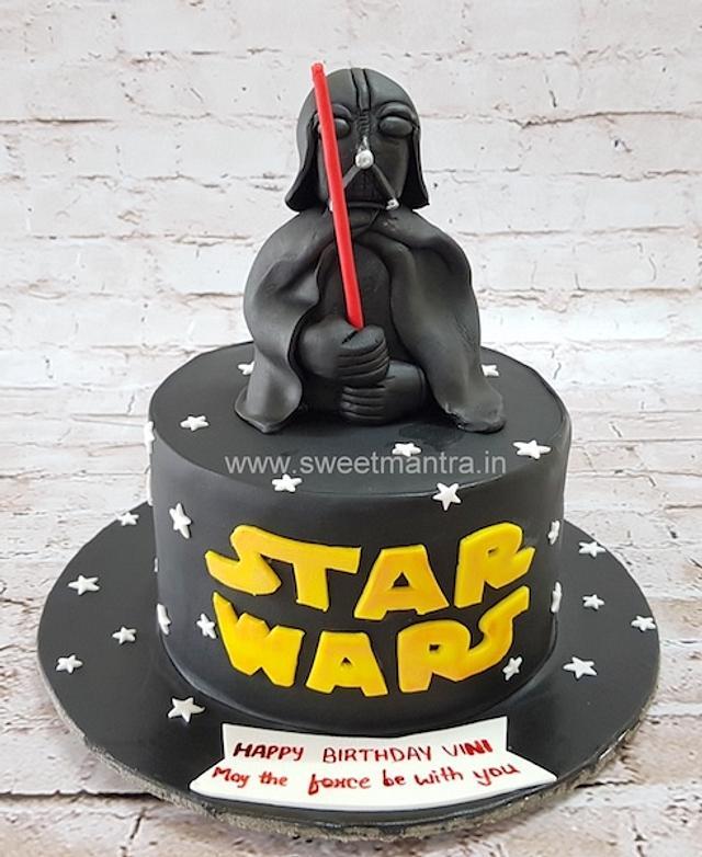 Miraculous Star Wars Theme Designer Fondant Cake With 3D Darth Vader Cakesdecor Funny Birthday Cards Online Amentibdeldamsfinfo