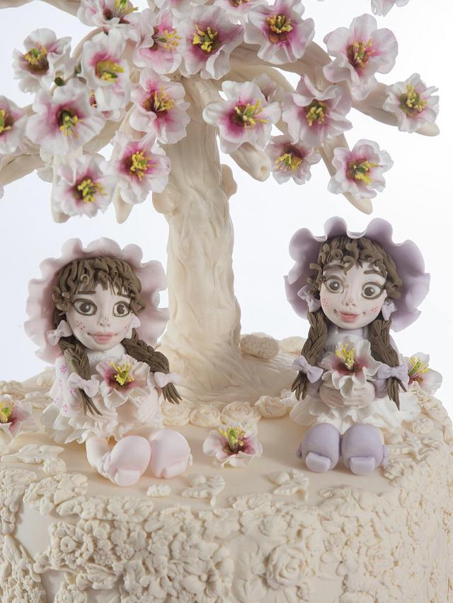 Best friends collaboration - Little girls under blossom tree