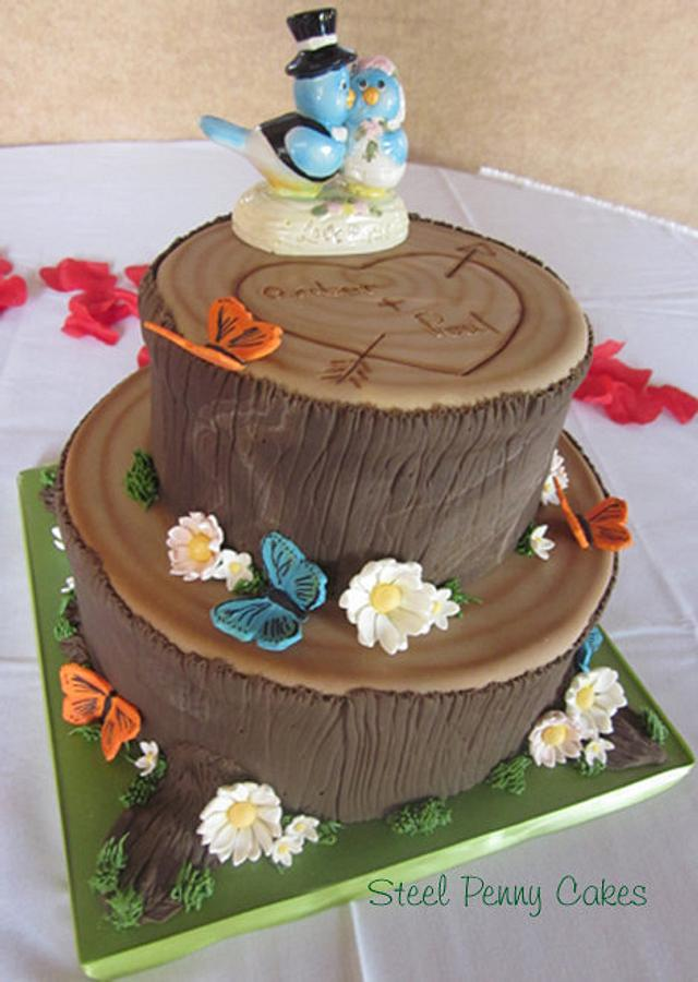 Woodland tree stump wedding cake