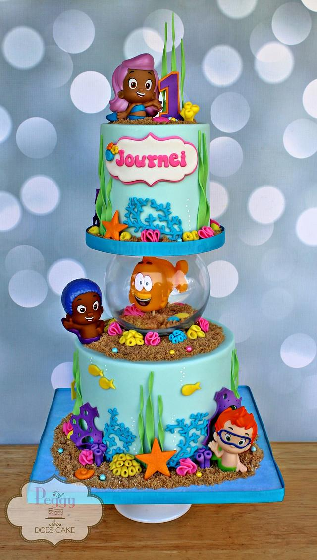 Bubble Guppies with Fish Bowl Cake