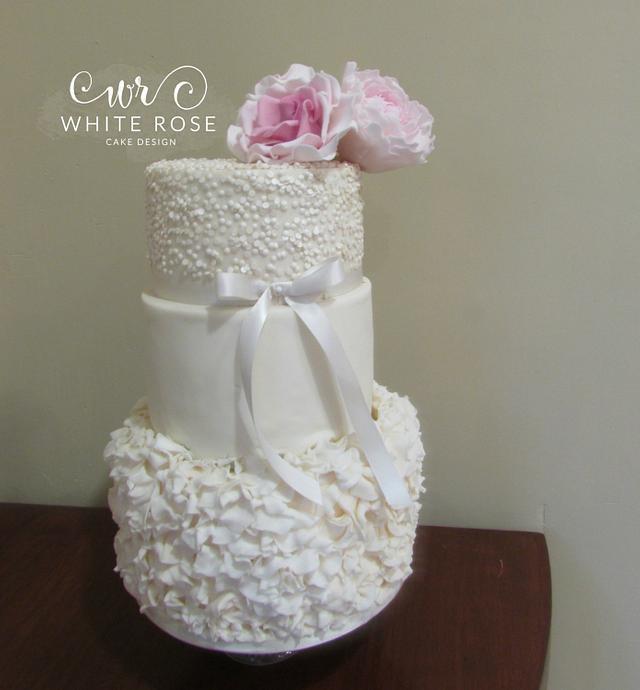 Three Tier Ruffles and Sequins Wedding Cake
