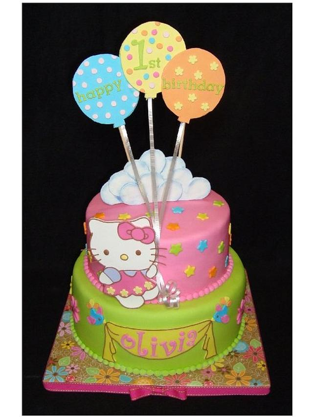 Peachy Hello Kitty First Birthday Cake By Toni White Crafty Cakesdecor Funny Birthday Cards Online Inifodamsfinfo