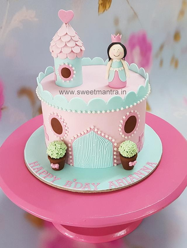 Astonishing Princess Castle Theme Customized Cake For Little Girls Cakesdecor Funny Birthday Cards Online Overcheapnameinfo