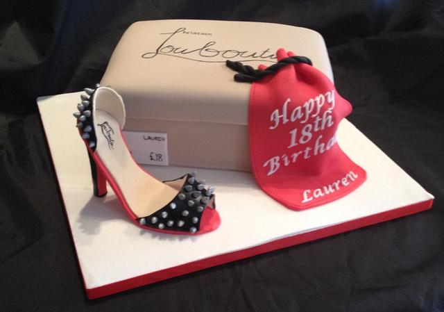 Louboutin Shoe and shoe box cake