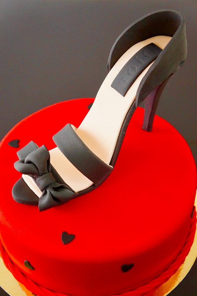 shoes on a red cake