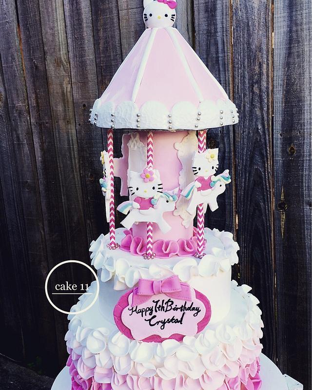 Hello kitty carousel cake