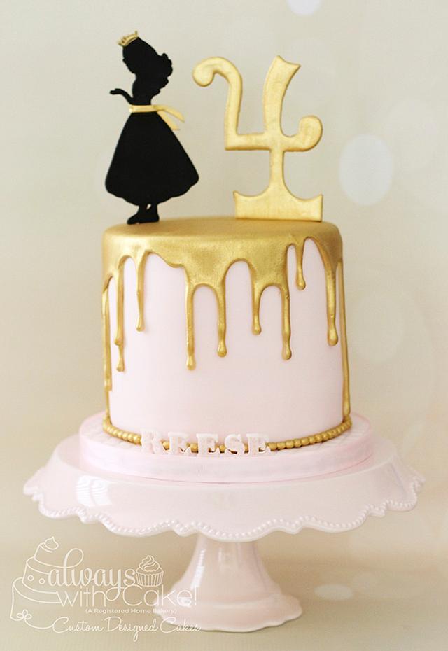 Gold and Pink Princess Cake
