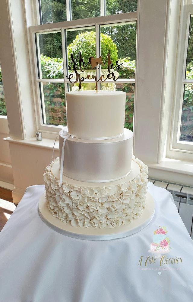 Ruffles and lustre wedding cake