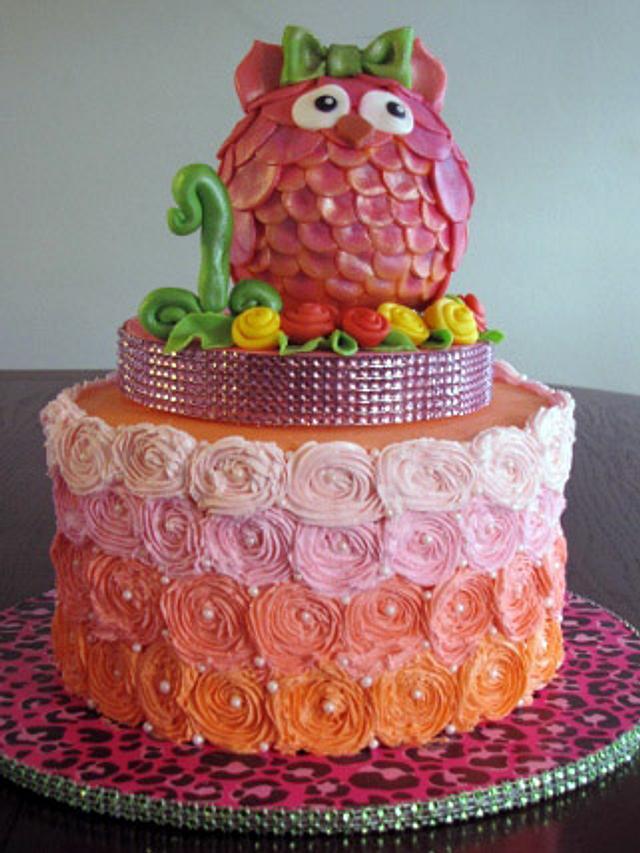 Groovy 1St Birthday Owl Cake Cake By Katyast Cakesdecor Funny Birthday Cards Online Amentibdeldamsfinfo