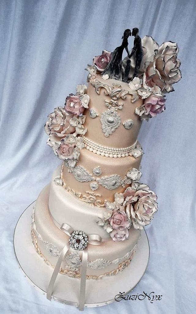 Romantic wedding cake in the chateau style.