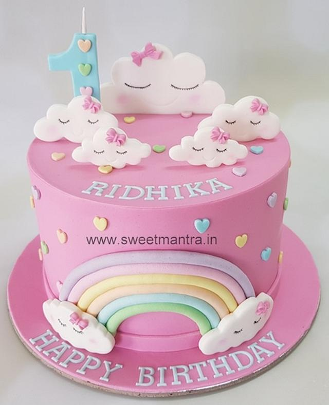 Peachy Clouds Theme Fondant Cake For Girls 1St Birthday Cake Cakesdecor Personalised Birthday Cards Arneslily Jamesorg