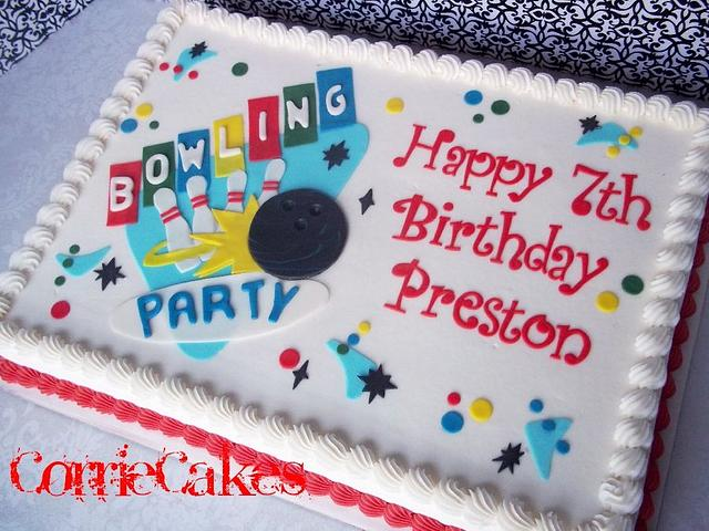 Pleasant Bowling Party Cake By Corrie Cakesdecor Personalised Birthday Cards Veneteletsinfo