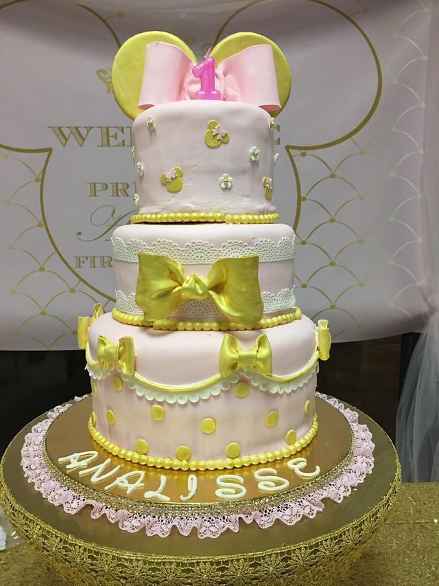Excellent Baby Minnie First Birthday Cake Cake By Chubbyabi Cakesdecor Birthday Cards Printable Riciscafe Filternl