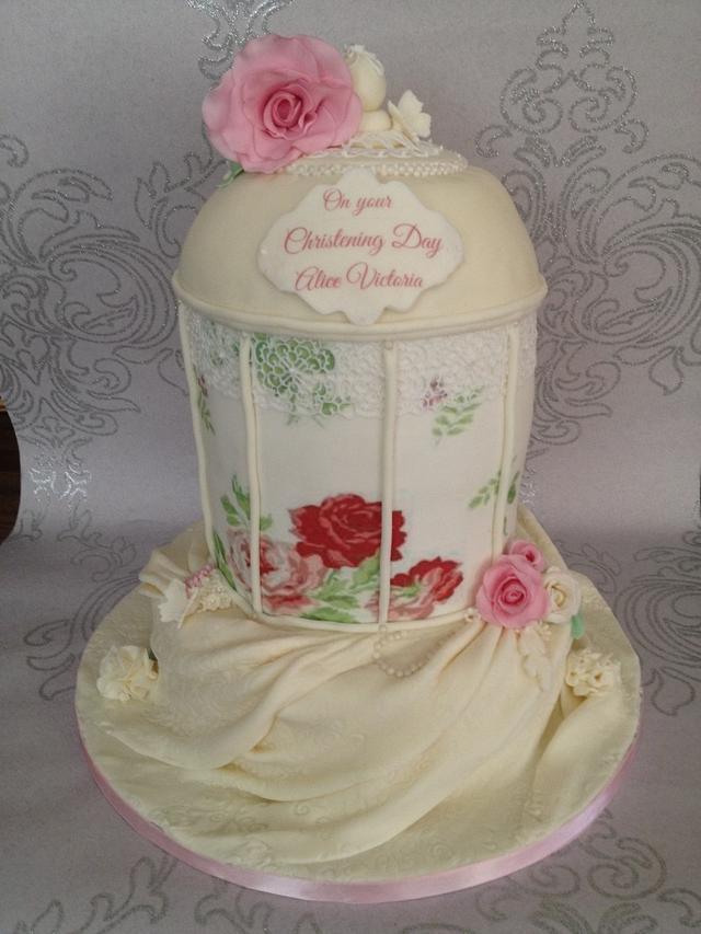 Vintage  birdcage christening cake