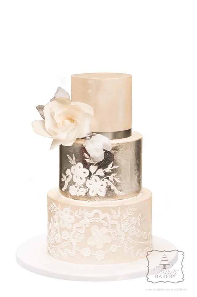Silver Leaf & Embroidery Wedding Cake